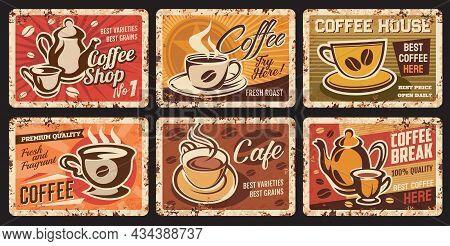 Steaming Coffee Cups Rusty Plates. Coffee House, Cafe Or Restaurant Hot Drinks Grungy Vector Tin Sin