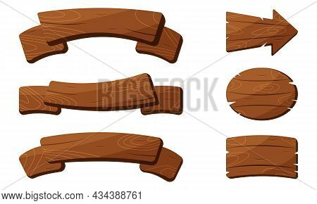 Set Of Vintage Brown Wood Plank On White Background. Wooden Texture Signboard And Arrow Signpost. Ti