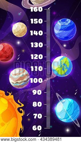Kids Height Chart, Cartoon Galaxy Space Planets, Vector Growth Measure Ruler. Kids Height Chart Or B