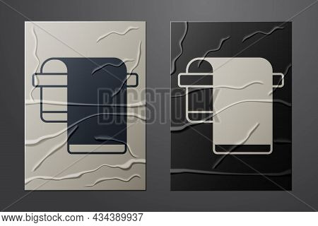 White Towel On Hanger Icon Isolated On Crumpled Paper Background. Bathroom Towel Icon. Paper Art Sty