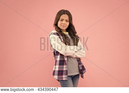 Confident Kid With Pouty Look Keep Arms Crossed In Casual Fashion Style Pink Background, Confidence