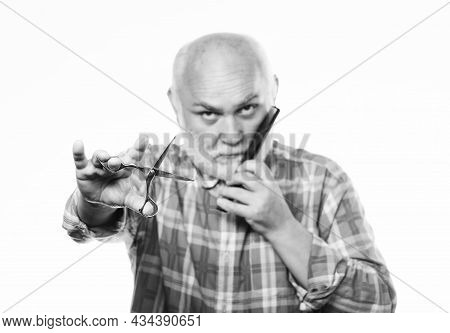 Shaving Is Fun. Shaving Scissors Tool Kit. Cut And Brush Hair. Unshaven Old Man Has Moustache And Be