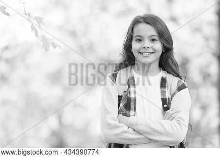 Teen Girl Carry Backpack On The Way To School. Child Walk In Autumn Forest. Fall Leaves In Park. Sea
