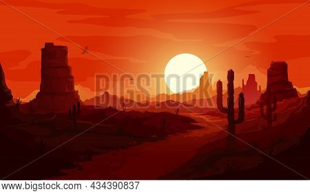 American Desert Landscape. Texas Western Mountains And Cactuses, Condor Eagles And Sunset Background