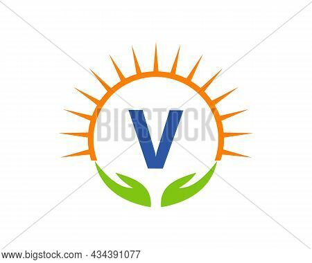 Charity Logo With Hand, Sun And V Letter Concept. Letter V Charity Logo Template Donation Organizati