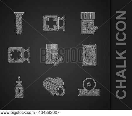 Set Medicine Bottle And Pills, Heart With Cross, Otolaryngological Head Reflector, Pills Blister Pac