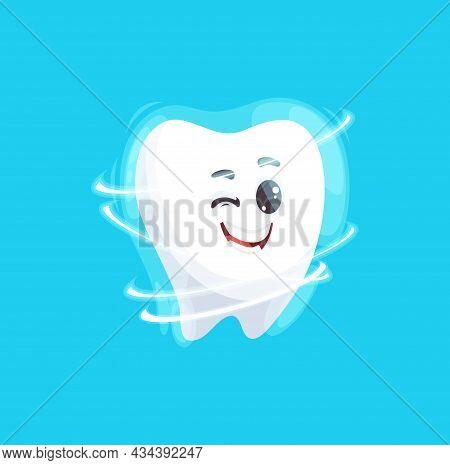 Tooth Emoticon Cartoon With Shining Perfect Smile Isolated Cartoon Emoji Emoticon. Vector Healthy Sm