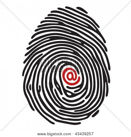 finger print with email sign poster