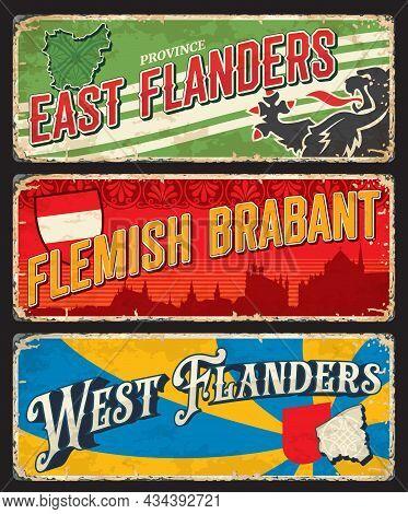 East And West Flanders Or Flemish Brabant Belgian Region Vintage And Travel Stickers, Vector. Belgiu