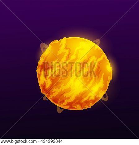 Flaming Sphere, Burning Planet Ball, Hot Globe In Fire Sparkles Isolated Cartoon Far Aliens World. V