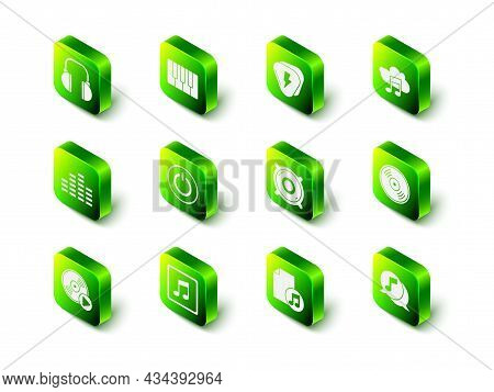 Set Music Synthesizer, Guitar Pick, Streaming Service, Vinyl Disk, Musical Note Speech Bubble, Stere