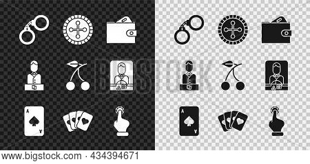 Set Handcuffs, Casino Roulette Wheel, Wallet With Money, Playing Card Spades, Deck Of Playing Cards,