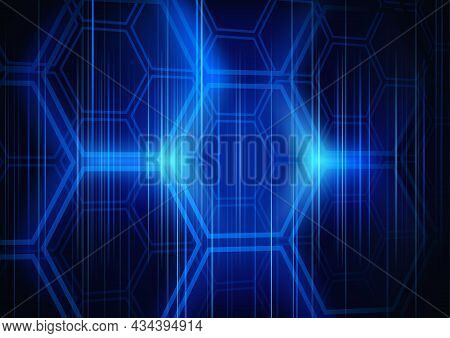 Blue Abstract Tech Background With Illuminated Hexagonal Grid - Illustration In Blue Tones With Ligh