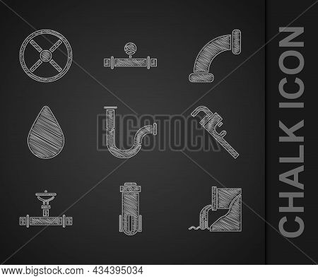 Set Industry Metallic Pipe, Water Filter, Wastewater, Pipe Adjustable Wrench, And Valve, Drop, And I