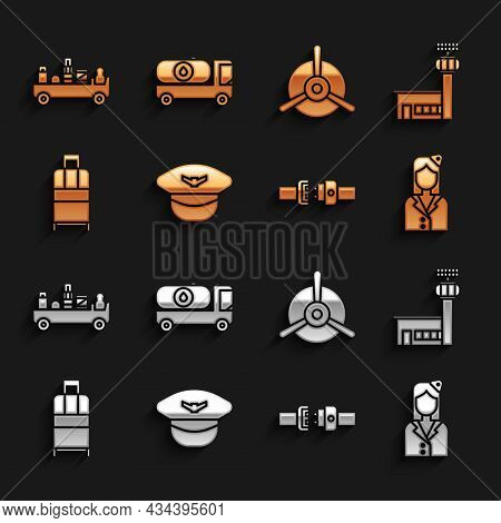 Set Pilot Hat, Airport Control Tower, Stewardess, Safety Belt, Suitcase, Plane Propeller, Luggage To