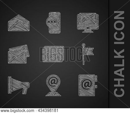 Set Website And Envelope, Location Mail E-mail, Address Book, Marker, Megaphone, Envelope, Monitor A
