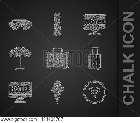 Set Suitcase, Ice Cream In Waffle Cone, Wi-fi Wireless Internet Network, Online Hotel Booking, Sun P