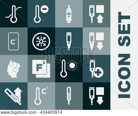 Set Digital Thermometer, Snowflake, Celsius, Meteorology And Icon. Vector