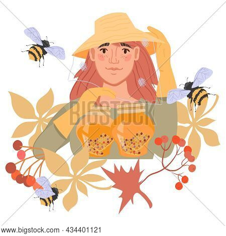 Emblem Or Banner For Beekeeping, Honey Proceeding And Sale, Apiary With Cartoon Beekeeper Femele Cha
