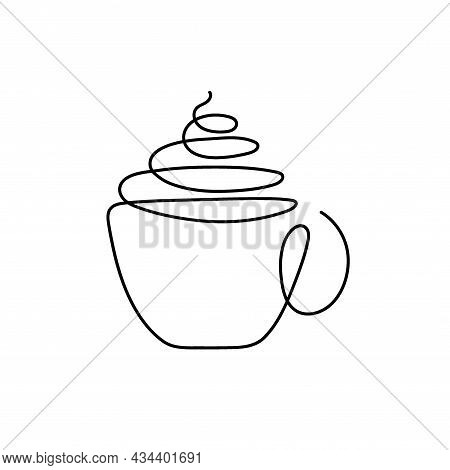 Continuous One Line Drawing Cup With Creamy Drink. Drink Store Logo Concept. Abstract Hand Drawn Cup