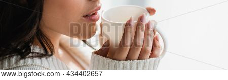Partial View Of Woman In Cozy Clothes Drinking Warm Tea, Banner