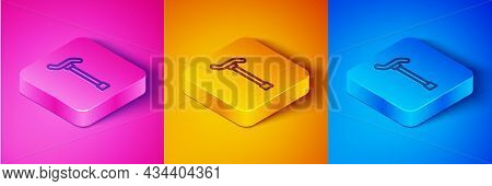 Isometric Line Walking Stick Cane Icon Isolated On Pink And Orange, Blue Background. Square Button.