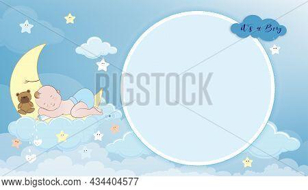 Baby Shower Card,cute Little Boy Sleeping On Crescent Moon, Milk Bottle And Teddy Bear On Blue Sky A