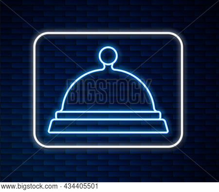 Glowing Neon Line Covered With A Tray Of Food Icon Isolated On Brick Wall Background. Tray And Lid S