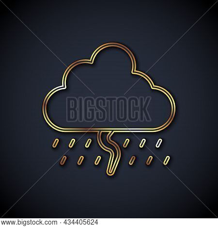 Gold Line Cloud With Rain And Lightning Icon Isolated On Black Background. Rain Cloud Precipitation
