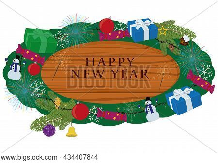 Happy New Year Wooden Signboard Decorated With Party Items Vector Illustration