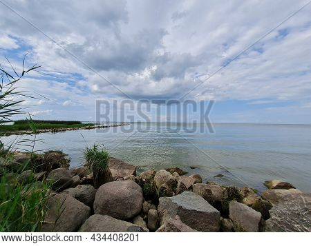 The Coast Of The Curonian Lagoon With Tall Green Reeds And A Stone Breakwater And Seagulls On A Sunn