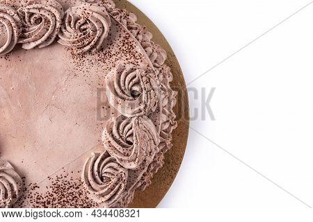 Chocolate Truffle Cake Isolated On White Background