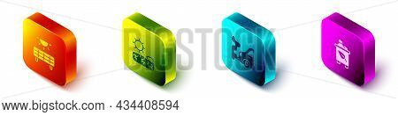 Set Isometric Solar Energy Panel, Drought, Car Exhaust And Recycle Bin With Recycle Icon. Vector