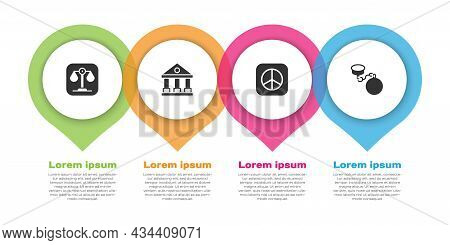 Set Scales Of Justice, Courthouse Building, Peace And Ball On Chain. Business Infographic Template.