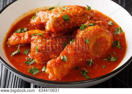 Spicy Tomato Chicken Ayam Masak Merah Close-up In A Bowl On The Table. Horizontal