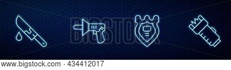 Set Line Police Badge, Bloody Knife, Megaphone And Electric Shocker. Glowing Neon Icon On Brick Wall