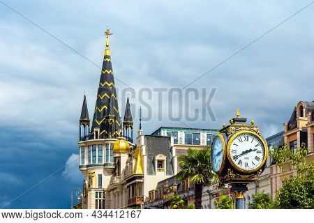 Batumi, Georgia, September 6, 2021: Europe Square, View Of The Astronomical Clock Tower