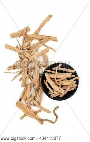 Stellaria root chickweed herb used in traditional Chinese herbal medicine on white. Used to treat  eczema, psoriasis, burns, aids weight loss. Yin chai yu. Radix stellariae.