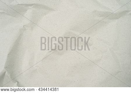 Grey Crumpled Kraft Background Paper Texture. Paper Crease Or Crumpled , Abstract Texture White Back