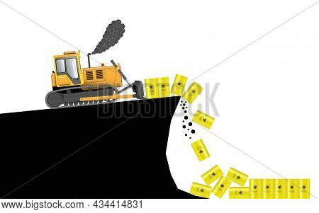 Burial Of Biological Waste. Bulldozer. A Metal Barrel With A Biohazard Sign. Environmental Pollution