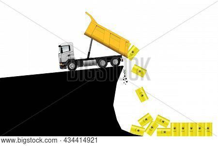 Burial Of Biological Waste. Truck. A Metal Barrel With A Biohazard Sign. Environmental Pollution Con