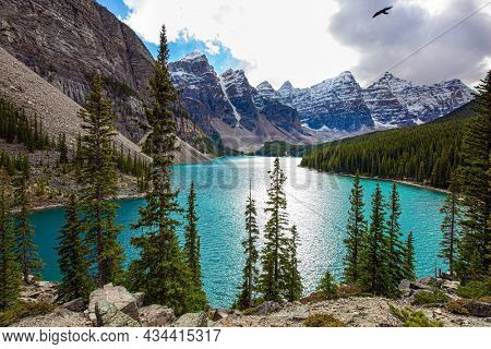One of the most beautiful lakes in the world - Moraine Lake. Canadian Rockies. Valley of the Ten Peaks. The water in the lake is of a beautiful azure color. Travel to northern Canada