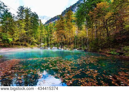 Travel to Slovenia. Julian Alps. Picturesque shallow lake with glacial greenish water, covered with yellow and orange fallen leaves. Cloudy foggy autumn day