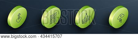 Set Isometric Line Religious Cross In Heart, Christian Icon, Church Building And Gods Helping Hand I