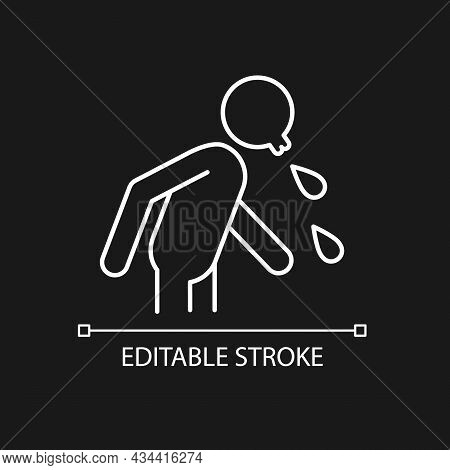 Spit White Linear Icon For Dark Theme. Rude, Indecent Behavior In Public Places. Spitting Man. Thin