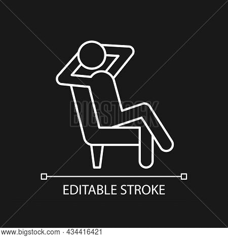 Relax White Linear Icon For Dark Theme. Man Sitting In Relaxed Pose. Human Taking Break From Work. T