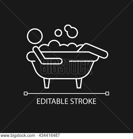 Bathe White Linear Icon For Dark Theme. Man Lying In Bubble Bath. Personal Hygiene Activities. Thin
