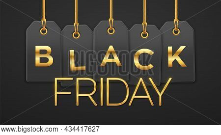 Black Friday Sale, Shopping Promotion. Price Tag Coupons Hanging On Gold Ropes With Golden Letters F