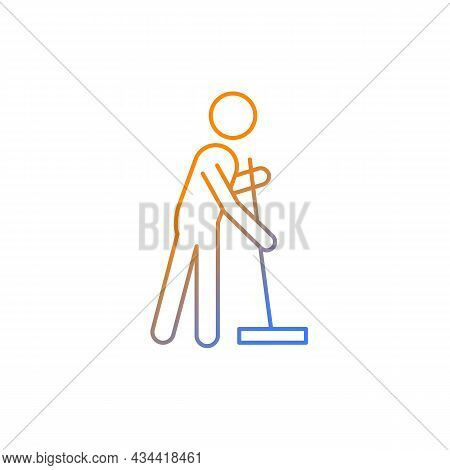 Cleaning With Mop Gradient Linear Vector Icon. Person With Mop Cleaning House. Commonplace Household