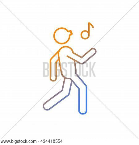 Whistle Gradient Linear Vector Icon. Bad Habit. Person Walking And Whistling. Habitual Patterns Of H